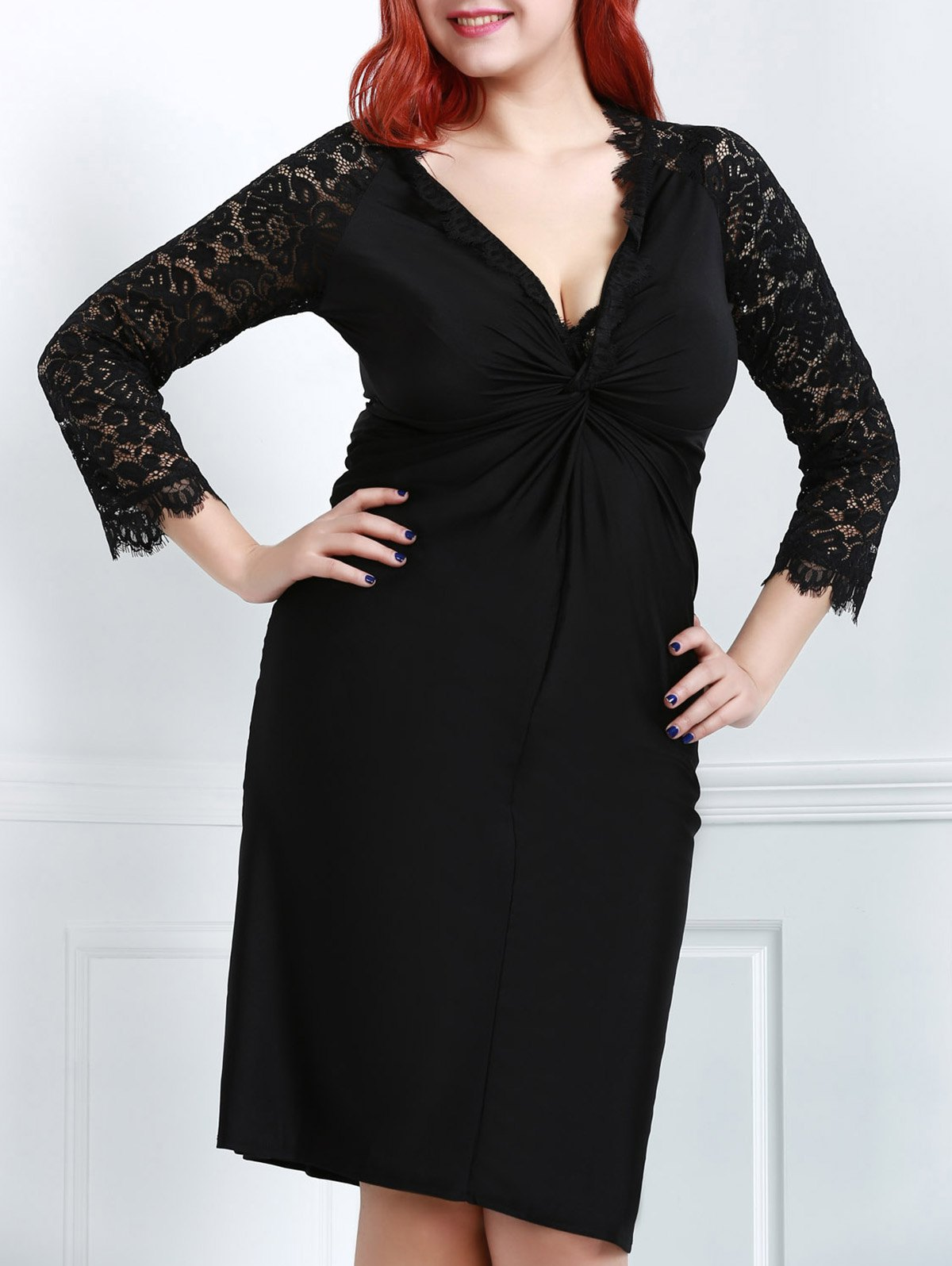 Sexy Black Plunging Neck Lace Spliced Long Sleeve Dress For Women - 2XL BLACK