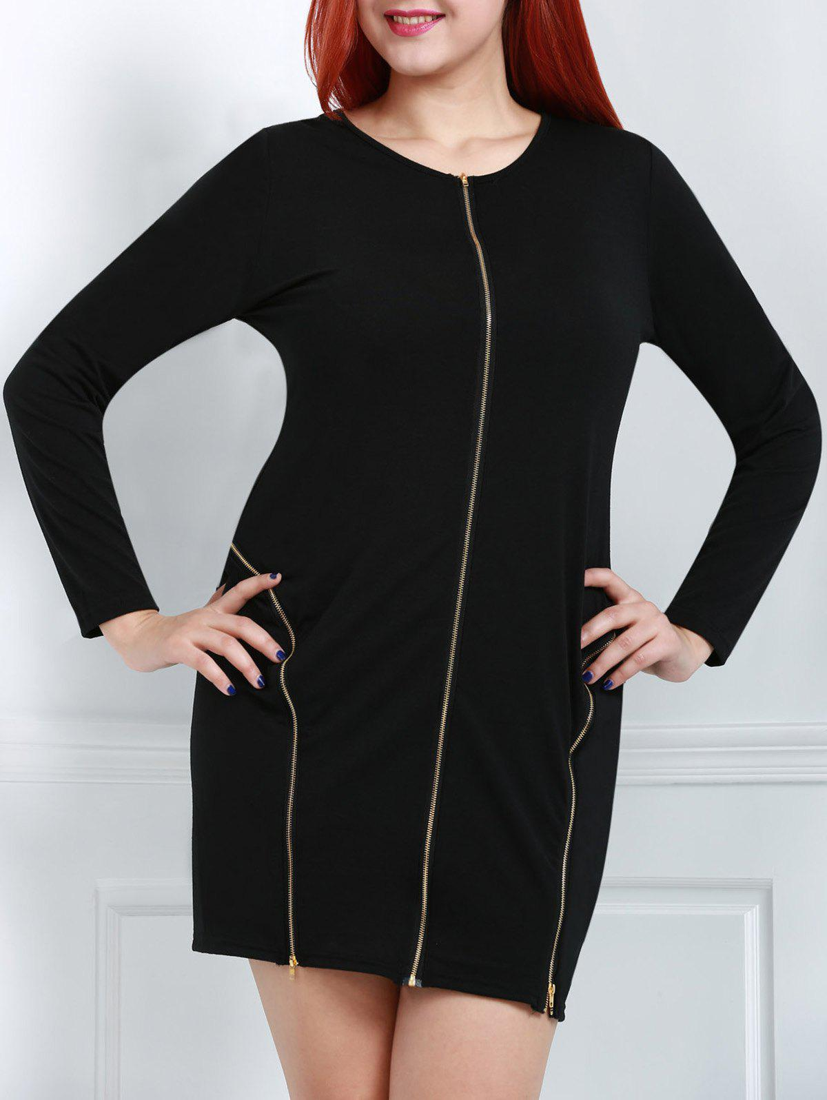 Scoop Neck Zipper Design Long Sleeve Plus Size Dress For Women - BLACK 2XL