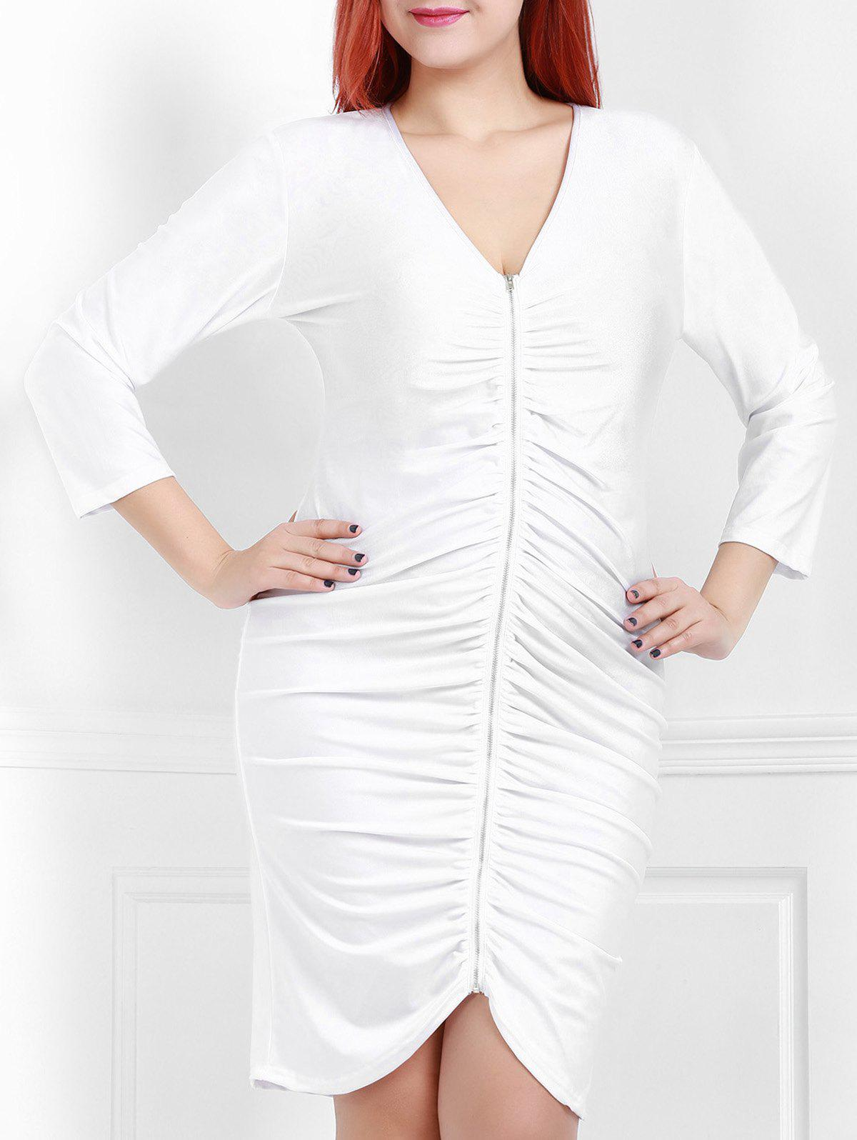 Sexy White Plunging Neck 3/4 Sleeve Dress For Women - WHITE 2XL