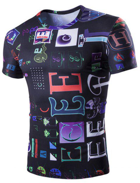 Funny Letters Pattern Round Neck Short Sleeves Men's T-Shirt - COLORMIX 2XL