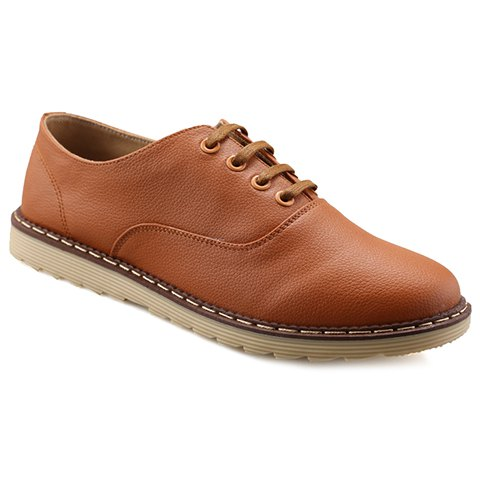 Casual PU Leather and Lace-Up Design Dress Shoes For Men - BROWN 42