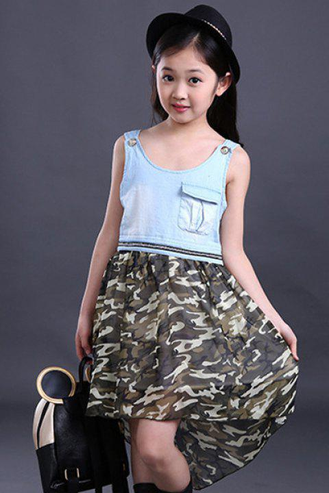 Camouflage robe couleur Cute Scoop Neck manches Haut Bas Fille - Camouflage 110