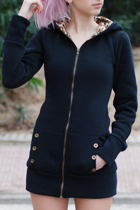Attractive Hooded Inside Leopard Printed Thick Hoodie For Women - BLACK 2XL