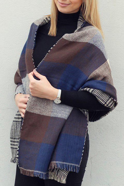 Chic Plaid and Houndstooth Pattern Tassel Women's Warmth Reversible Scarf - COLOR ASSORTED