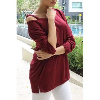 Casual Long Sleeve V-Neck T-Shirt For Women - WINE RED WINE RED