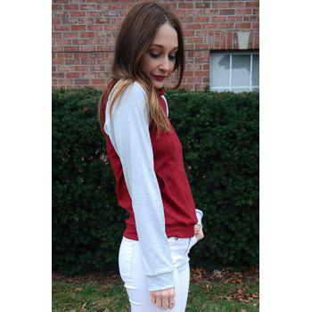 Charming Hooded Hit Color Pocket Design Pullover Hoodie For Women - WINE RED S