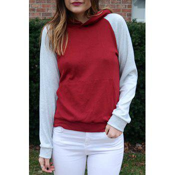 Charming Hooded Hit Color Pocket Design Pullover Hoodie For Women