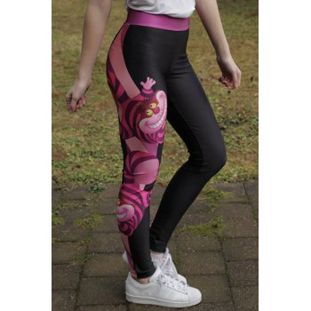 Stylish Color Block Cartoon Printed Elastic Bodycon Yoga Pants For Women - BLACK/ROSE RED ONE SIZE(FIT SIZE XS TO M)