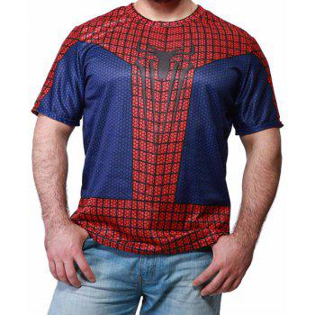 Trendy Color Block Spider-Man Print Round Neck Short Sleeve Slimming Men's Polyester T-Shirt