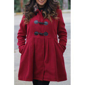 Graceful Long Sleeve Hooded Faux Fur Spliced Women's Hooded Coat