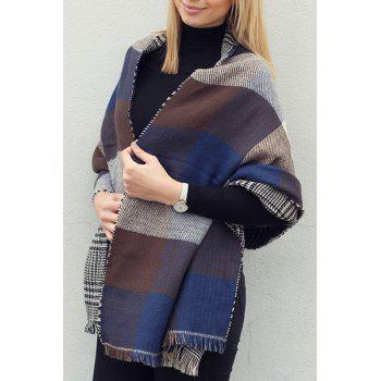 Chic Plaid and Houndstooth Pattern Tassel Women's Warmth Reversible Scarf