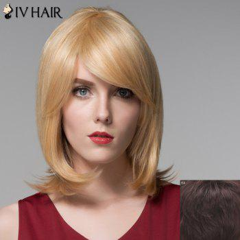 Noble Straight Tail Adduction Capless Trendy Medium Side Bang Human Hair Wig For Women