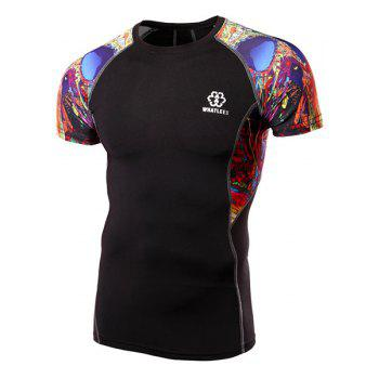 Slimming Quick-dry Pullover Cycling T-Shirt For Men - COLORMIX XL