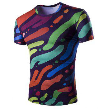 Slimming Camo Splicing Printing Pullover T-Shirt For Men