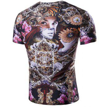 Vogue Round Neck 3D Figure Flower Print Men's Short Sleeves T-Shirt - COLORMIX L