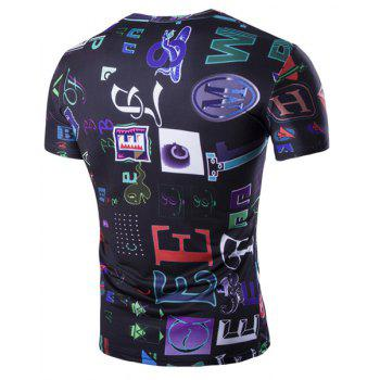 Funny Letters Pattern Round Neck Short Sleeves Men's T-Shirt - COLORMIX L