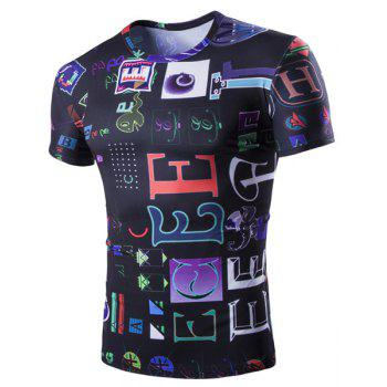 Funny Letters Pattern Round Neck Short Sleeves Men's T-Shirt