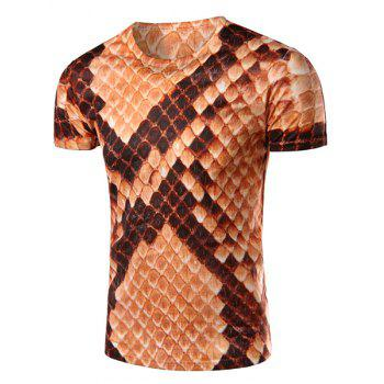 Round Neck 3D Snakeskin Printed Short Sleeve Men's T-Shirt