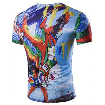 Abstract Graffiti Pattern Short Sleeves Round Neck Men's T-Shirt - COLORMIX L