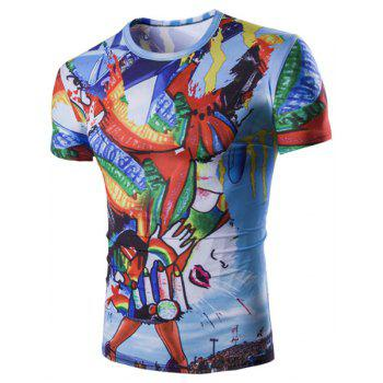 Abstract Graffiti Pattern Short Sleeves Round Neck Men's T-Shirt