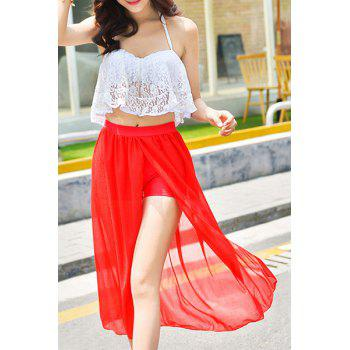 Stylish Women's Halter Lace Spliced Long Skirt Two-Piece Swimsuit