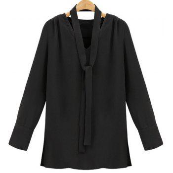 Stylish V-Neck Long Sleeve Women's Plus Size Blouse