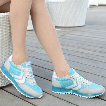 Trendy Splicing and Lace-Up Design Women's Athletic Shoes - GREY/WHITE/BLUE 37