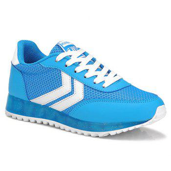 Buy Trendy Splicing Lace-Up Design Women's Athletic Shoes BLUE/WHITE