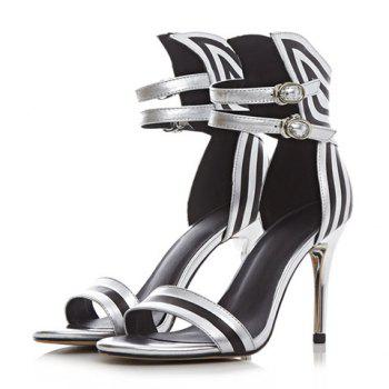Stylish Stiletto Heel and Color Block Design Sandals For Women - SILVER 38