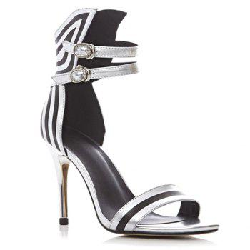 Stylish Stiletto Heel and Color Block Design Sandals For Women
