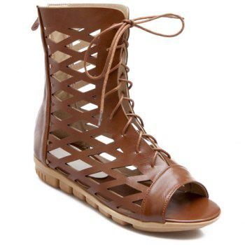 Trendy Hollow Out and Lace-Up Design Women's Sandals