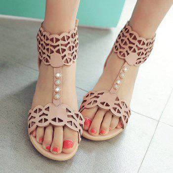 Stylish Beading and Hollow Out Design Women's Sandals - PINK 34