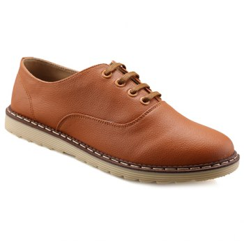 Casual PU Leather and Lace-Up Design Dress Shoes For Men