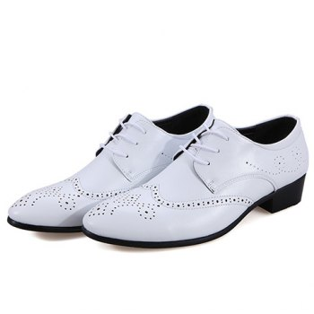 Trendy Wingtip and Lace Up Design Formal Shoes For Men - WHITE 42