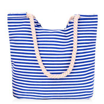 Simple Striped and Canvas Design Women's Shoulder Bag