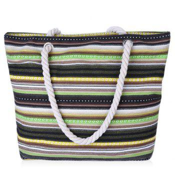 Fashionable Canvas and Colour Block Design Beach Shoulder Bag