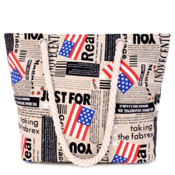 Stylish American Flag and Canvas Design Women's Shoulder Bag