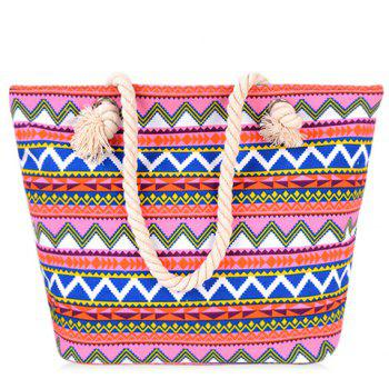 Geometric Pattern and Canvas Design Beach Shoulder Bag