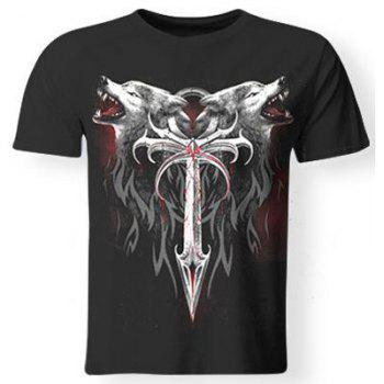 3D Wolf and Sword Print Round Neck Short Sleeves Men's Cool T-Shirt
