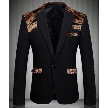Trendy Turn-Down Collar Elbow Patch Splicing Long Sleeve Men's Blazer