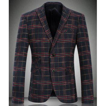 Trendy Turn-Down Collar Tartan Print Long Sleeve Men's Blazer
