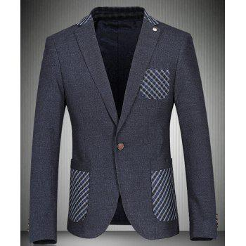 Trendy Turn-Down Collar Plaid Print Patch Pocket Long Sleeve Men's Blazer