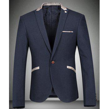 Trendy Turn-Down Collar Fish Skin Design Spliced Long Sleeve Men's Blazer