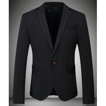 Trendy Turn-Down Collar Solid Color Patch Pockets Long Sleeve Men's Blazer