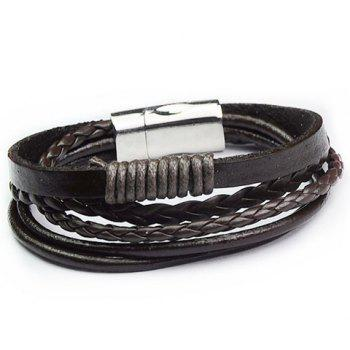 Faux Leather Stainless Steel Knitting Bracelet