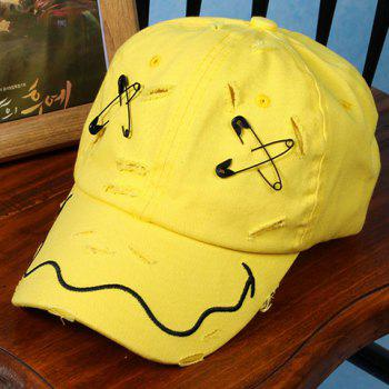 Stylish Safety Pin Embroidery Broken Hole Embellished Baseball Cap For Men