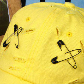 Stylish Safety Pin Embroidery Broken Hole Embellished Baseball Cap For Men - YELLOW