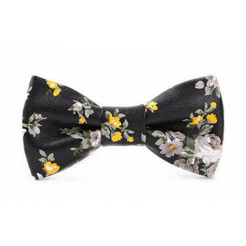 Stylish White and Yellow Flowers Pattern Men's Black PU Bow Tie