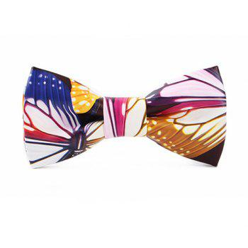 Stylish Colorful Vivid Butterfly Pattern Men's PU Bow Tie