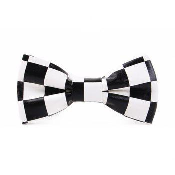 Stylish Checked Pattern Men's Black and White PU Bow Tie